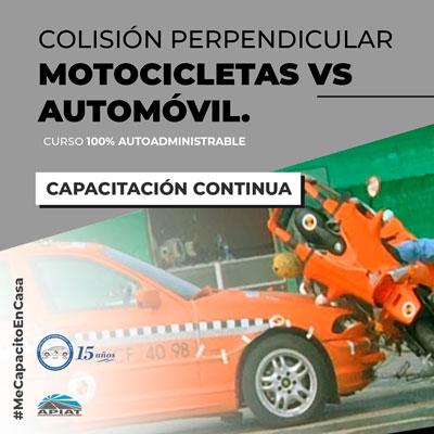 Colisión perpendicular motocicletas vs automóvil
